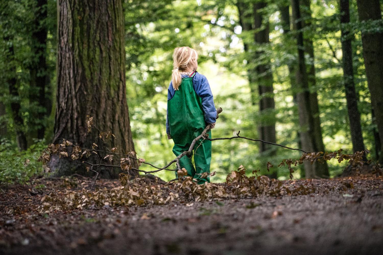 LIFE-for-FIVE-VW-Bus-Mädchen läuft durch den Herbstwald